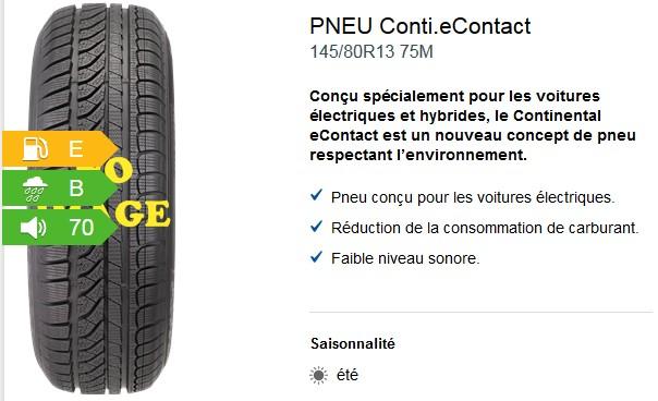 Exemple de pneu pour voiture électrique :  Continental eContact 145/80R13 75M . Source : Vulco